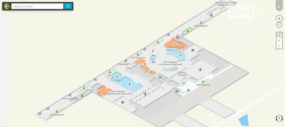 Ростовский аэропорт Платов подробно показали на схемах, фото-1, Иллюстрация: 2ГИС