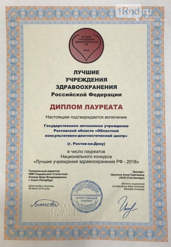 ОКДЦ стал лауреатом национального конкурса «Лучшие учреждения здравоохранения РФ – 2018» , фото-1