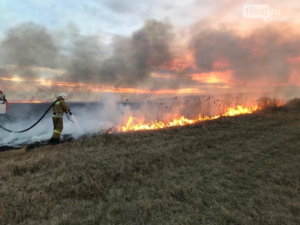 Под Ростовом загорелась сухая трава , фото-1