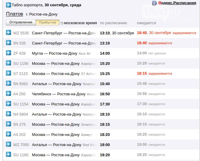 Онлайн-табло аэропорта Платов