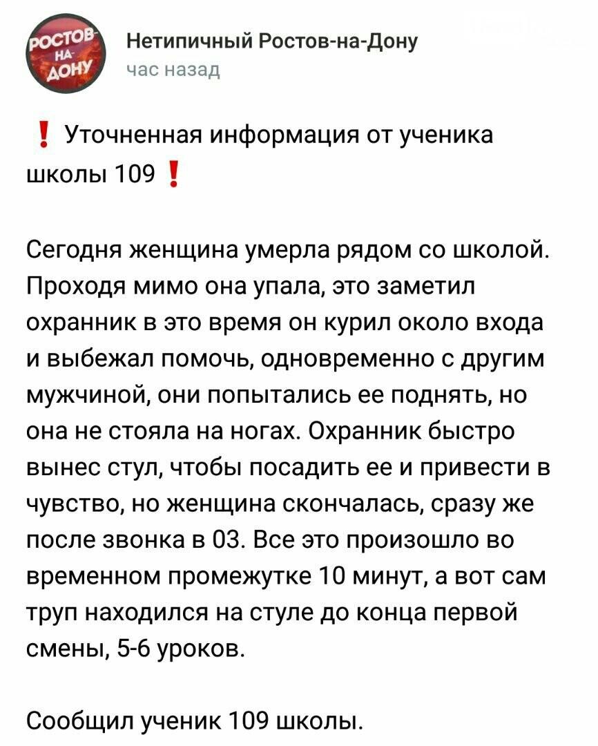Версия ЧП от учеников школы 109 Ростова
