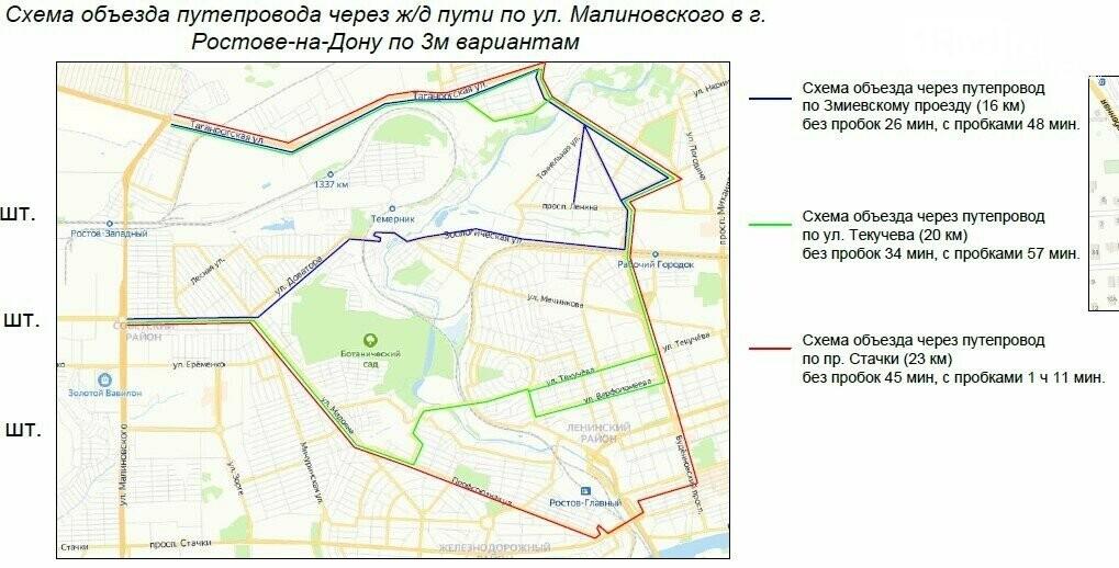 Схемы объезда моста Малиновского для легковых автомобилей/ фото: пресс-служба администрации Ростова