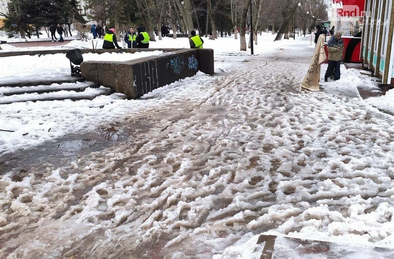 Гиганские ледяные лужи остались на месте, Фото Анны Дунаевой