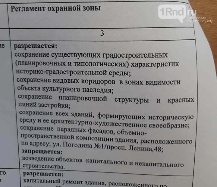 Документ об охранной зоне на площади Ленина в Ростове