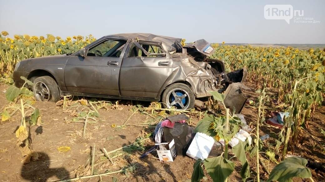 Автомобиль вылетел в поле с подсолнухами