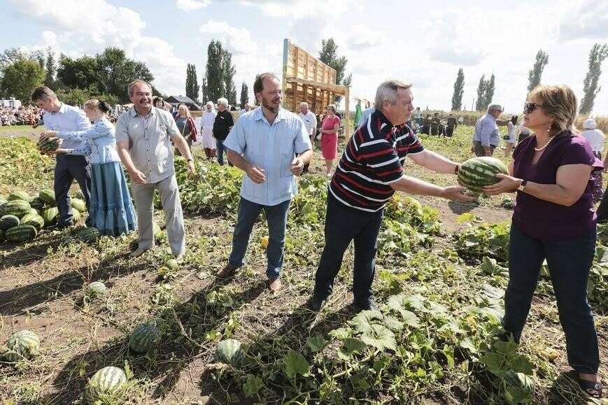 Донской губернатор Василий Голубев вхуторе Кружилинском cыграл в«арбузный боулинг»