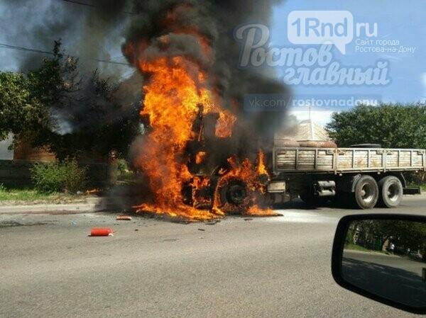 ВРостове наЩаденко cотрудники экстренных служб потушили фургон