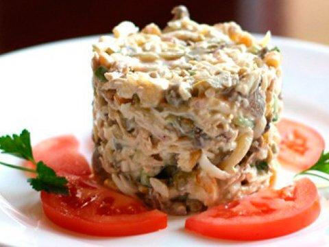 Салат с грибами курицей сыром и горошком