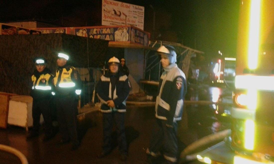 Площадь пожара наростовском рынке увеличилась до 6-ти тыс. квадратных метров